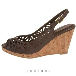 Chinese Laundy brown leather slingback cork wedges